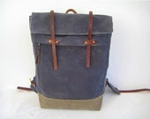Waxed Canvas Rucksack / Backpack Zipper Closure Zipper Pocket Padded Straps Laptop Pouch Leather Charcoal Grey