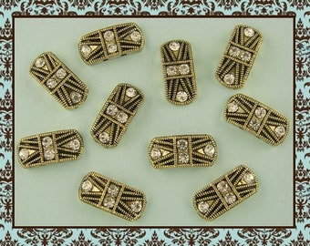 Beads Marcasite Tablets GOLD with Clear Swarovski Crystal Elements ~ 2 Hole Sliders QTY 10