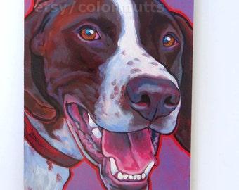 German SHORTHAIRED POINTER GSP Dog Original Portrait Art Painting 6x8 by Lynn Culp
