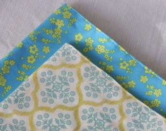 Turquoise Sky Head Kerchief Neck Wrap Scarf Lime Turquoise Floral and Ivory Olive Blue Set of Two