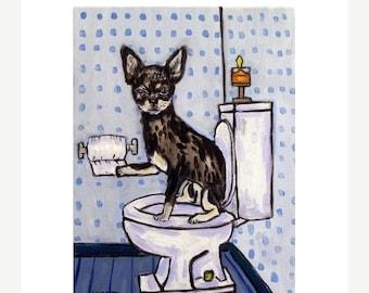 ON SALE Chihuahua  - dog - art - print - poster - gift - bathroom - 11x14 print - modern folk art
