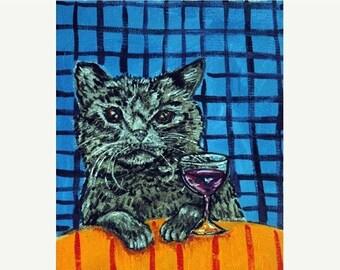 ON SALE Black Cat at the Wine Bar Animal Art Print