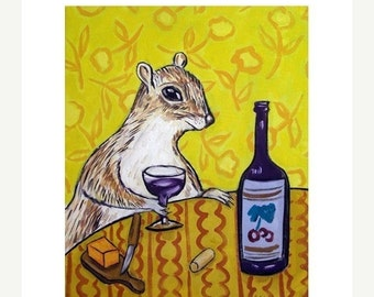 ON SALE Grey Squirrel at the Wine Bar Art Print