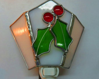 Holly Night light - 4 Holly Nightlights to Choose From - Stained Glass Holly Night Lights