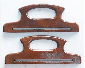 1 pair of 10 inches wooden bag handles ( brown ) supply wood for your bag project