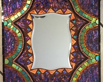 "12"" X 12"" Copper and Purple Iridescent Stained Glass Mosaic mirror"