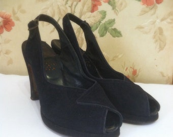 Vintage 1940's Black Peep Toe Slingback High Heels • sz 6.5