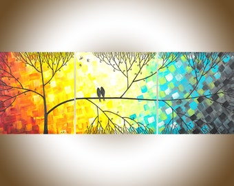 "Original acrylic painting 36"" abstract landscape love birds flower tree canvas art office wall art wedding gift ""Love and Romance"""