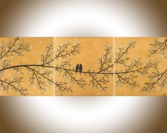 """Abstract wall art gold black Painting Original Artwork love birds art gift for couple canvas painting """"Golden Dreams"""" by QIQIGALLERY"""