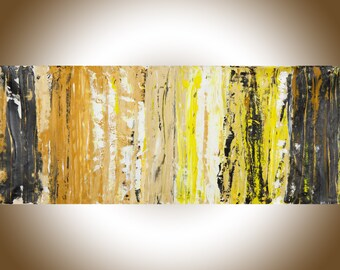 """Large art, abstract art, modern art, 60"""" large wall art, brown, yellow, Gold,black,white painting gift for men""""Treasure Hunt"""" by qiqigallery"""