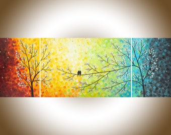 "Extra large wall art 72"" Rainbow color art set of 3 wall art wall decor canvas painting palette knife by qiqigallery"
