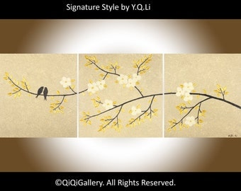 "48"" Acrylic BIRDS painting wall art  Impasto palette knife painting Gift for mom ""Harmony II"" by QIQIGALLERY"