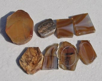 GB-503    Group of 8 Pre Formed Cabs, Banded Agate, Cabochons, Lapidary, Rough Slabs, Supplies