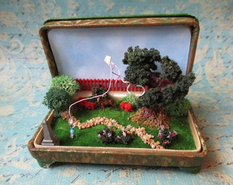 Miniature Park in a Vintage Ring Box