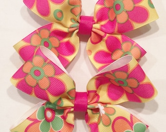Floral Hair Bows Pink Floral Hair Bow Spring Flower Bow Floral Hair Clips Double Tuxedo Bow Flower Hair Clips Barrettes And Clips