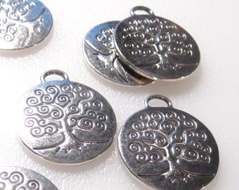 10% Off 6 Tree Charms Antique Silver Tone Tree of Life Charms C1048 F16