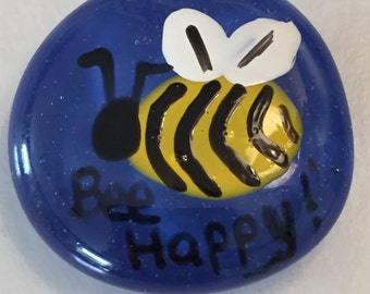 Hand painted large glass gem magnet  mini art bee bee happy