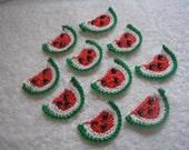 Crochet Watermelon Appliques set of 10