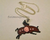 Flying Pig Necklace, Guardian Angel Pig, Cowgirl Necklace, Pink Resin Rose, Swarovski Crystals, Chain Necklace