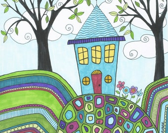 Happy New Home, Art Print, New Home Gift, House, Landscape