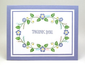 purple thank you card - flower garland thank you note - periwinkle thank you card