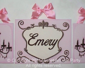 Personalized Custom canvas name sign wall art Pink brown Paris Chandelier children baby nursery painting set decor monogram french