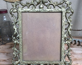 Large Ornate Bronze Rococo Style picture Frame with Glass & Board