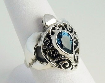 Turtle Ring London Blue Topaz - Sterling Silver Sea Turtle Ring - Sea Turtle Jewelry - December Birthstone Ring - Honu Jewelry