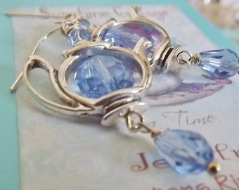 Blue Crystal, Silver Tea Pot, Earrings