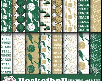 Basketball Hunter Green, Gold & White digital paper 16 jpg files player silhouettes terms words team foul defense {Instant Download}