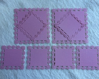 Scrapbook Mats...8 Piece Set of Very Lovely Pink Vintage Floral Scrapbook Photo Mats