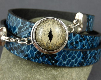 Popper bracelet, chunk bracelet, snap bracelet, leather bracelet, reptile skin, snake skin, dragon skin, lizard skin, popper not included