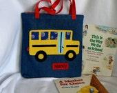 Kids Tote Bag Personalized Tote Bag School Bus Tote Bag Gift for Grand Kids Toddler Boy Tote Bag Preschool Tote Bag Library Book Bag