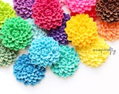 20pc large chrysanthemum resin flower cabochons / flat back cab embellishment / choose 24 colors / pastel rainbow ivory / 32mm / top quality