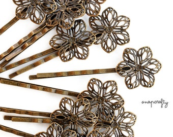 10pc filigree hairpin blank /  20mm antique brass hair pin blank / filigree bobby pin blank / lead free, nickel free