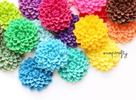 20pc large chrysanthemum resin flower cabochons / flat back cab embellishment / choose 24 colors / pastel rainbow ivory / 32mm / top quality