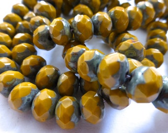 Czech Mustard with Picasso 8x6mm Faceted Fire Polished Glass Rondelle Beads (25) 0714