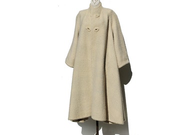 Vintage Ivory & Brown Wool Plaid Coat / Reversible Wool Coat