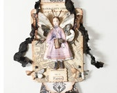 Fairy Child Assemblage, Miniature Collage, Amethyst Fairy, Small Girl Fairy Wings, Mixed Media Art Collage, Fantasy Fairy Artwork,