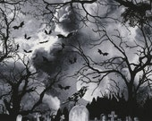 GRAVEYARD Wicked Eve Grey Black Printed Cotton Quilt Fabric by the Yard, Half Yard, or Fat Quarter Fq Halloween Dark Clouds Birds Moon Night