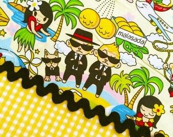 2 Pc Set Anime MEN In BLACK & Gingham YELLOW Cotton Quilt Fabric Comic Cartoon Graphic Japanese Kawaii Asian Manga Tokyo Japan Harajuku Girl