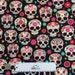 SUGAR SKULLS Black Pink FLOWERS Children Cotton Quilt Fabric by the Yard, Half Yard, Fat Quarter Fq Dios de los Muertos Baby Mexican Holiday