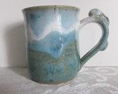 Bunny Handle With Light Blues and Greens Pottery Mug