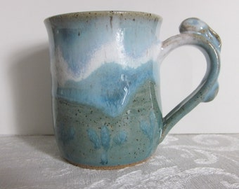 Bunny Handle With Light Blues and Greens Pottery Mug