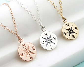 Compass Rose • Journey Necklace • Graduation Gift • Inspirational Gift • Traveler Gift • Adventure Awaits • North Star Charm