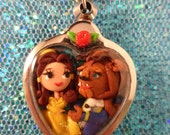 Custom Order for Andrea Beauty and The Beast Polymer Clay Shadowbox Necklace