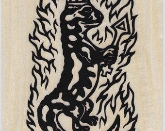 Salamander Fire screenprint wood veneer card