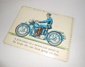 Vintage Police Motorcycle Picture, Vintage Plane Picture, Vintage Book Page from Stop-Look-Listen, Childrens Book Page, Nursery Decor