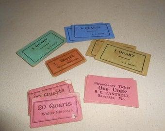 Vintage Strawberry Tickets, Fruit Tickets, Scrapbooking, Junk Journal, Paper Art, Vintage Journal