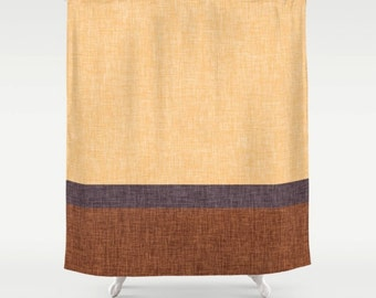 Modern Shower Curtain, Digital Burlap Texture and Stripe, Delicious Caramel Gold Rust Brown and Eggplant Purple, Masculine Design Home Decor